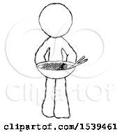 Sketch Design Mascot Man Serving Or Presenting Noodles