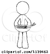 Sketch Design Mascot Woman Serving Or Presenting Noodles