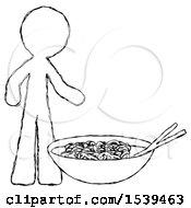 Sketch Design Mascot Man And Noodle Bowl Giant Soup Restaraunt Concept