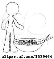 Sketch Design Mascot Woman And Noodle Bowl Giant Soup Restaraunt Concept