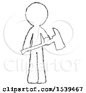 Sketch Design Mascot Man Holding Red Fire Fighters Ax