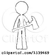 Sketch Design Mascot Woman Holding Red Fire Fighters Ax