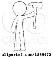 Sketch Design Mascot Man Holding Up Red Firefighters Ax