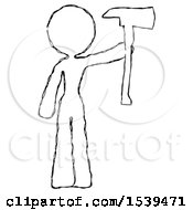 Sketch Design Mascot Woman Holding Up Red Firefighters Ax
