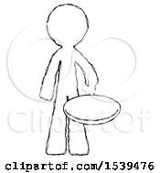 Sketch Design Mascot Man Frying Egg In Pan Or Wok