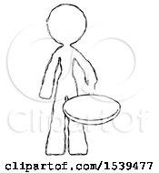 Sketch Design Mascot Woman Frying Egg In Pan Or Wok