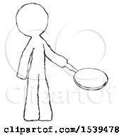 Sketch Design Mascot Man Frying Egg In Pan Or Wok Facing Right