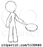 Sketch Design Mascot Woman Frying Egg In Pan Or Wok Facing Right
