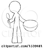 Sketch Design Mascot Man With Empty Bowl And Spoon Ready To Make Something