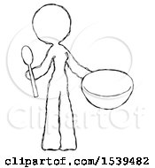 Sketch Design Mascot Woman With Empty Bowl And Spoon Ready To Make Something