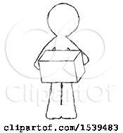 Sketch Design Mascot Man Holding Box Sent Or Arriving In Mail