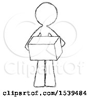 Sketch Design Mascot Woman Holding Box Sent Or Arriving In Mail