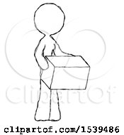 Sketch Design Mascot Woman Holding Package To Send Or Recieve In Mail