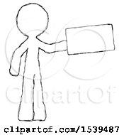 Sketch Design Mascot Man Holding Large Envelope