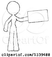 Sketch Design Mascot Woman Holding Large Envelope