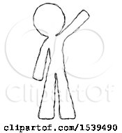 Sketch Design Mascot Man Waving Emphatically With Left Arm
