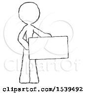 Sketch Design Mascot Woman Presenting Large Envelope