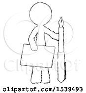 Sketch Design Mascot Man Holding Large Envelope And Calligraphy Pen