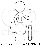 Sketch Design Mascot Woman Holding Large Envelope And Calligraphy Pen