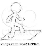 Sketch Design Mascot Man On Postage Envelope Surfing