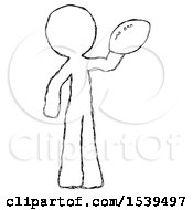 Sketch Design Mascot Man Holding Football Up