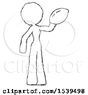 Sketch Design Mascot Woman Holding Football Up