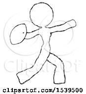 Sketch Design Mascot Woman Throwing Football