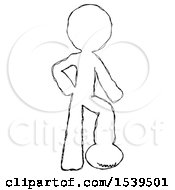 Sketch Design Mascot Man Standing With Foot On Football
