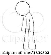Sketch Design Mascot Man Depressed With Head Down Turned Left