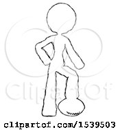 Sketch Design Mascot Woman Standing With Foot On Football