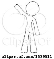 Sketch Design Mascot Woman Waving Emphatically With Right Arm