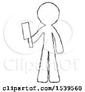 Sketch Design Mascot Man Holding Meat Cleaver