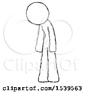 Sketch Design Mascot Woman Depressed With Head Down Turned Left