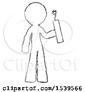 Sketch Design Mascot Man Holding Dynamite With Fuse Lit