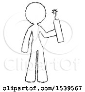 Sketch Design Mascot Woman Holding Dynamite With Fuse Lit