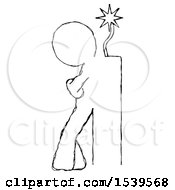 Sketch Design Mascot Man Leaning Against Dynimate Large Stick Ready To Blow
