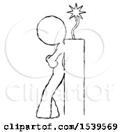 Sketch Design Mascot Woman Leaning Against Dynimate Large Stick Ready To Blow