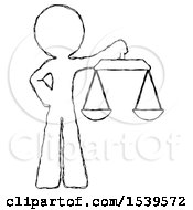 Sketch Design Mascot Man Holding Scales Of Justice