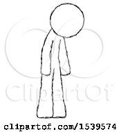 Sketch Design Mascot Man Depressed With Head Down Turned Right