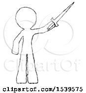 Sketch Design Mascot Man Holding Sword In The Air Victoriously