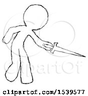 Sketch Design Mascot Man Sword Pose Stabbing Or Jabbing