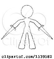 Sketch Design Mascot Woman Two Sword Defense Pose