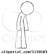 Sketch Design Mascot Woman Depressed With Head Down Turned Right