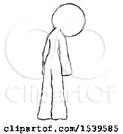 Sketch Design Mascot Woman Depressed With Head Down Back To Viewer Right
