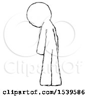 Sketch Design Mascot Man Depressed With Head Down Back To Viewer Left