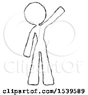 Sketch Design Mascot Woman Waving Emphatically With Left Arm