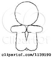 Sketch Design Mascot Woman Sitting With Head Down Facing Forward
