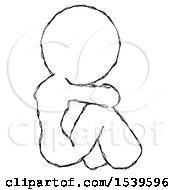 Sketch Design Mascot Woman Sitting With Head Down Back View Facing Right