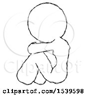 Sketch Design Mascot Woman Sitting With Head Down Back View Facing Left