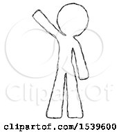 Sketch Design Mascot Man Waving Emphatically With Right Arm